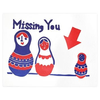 Nesting Doll Missing You Greeting Card