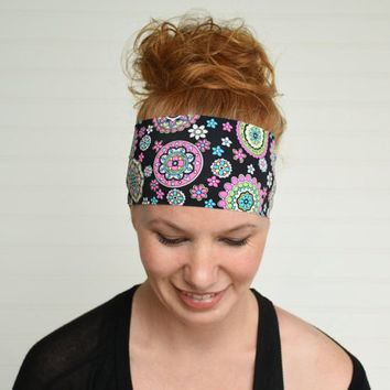 Yoga headband, Workout headband, Fitness headband, Running headband, Womens fabric headband, Wide boho headband, Hippie headband