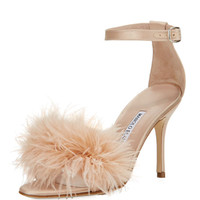 Manolo Blahnik Plumas Feather-Embellished Sandal, Flesh