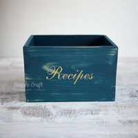 Rustic recipe box gold Recipe card holder custom recipe box recipe box wood wooden recipe card box large recipe box bridal shower recipe box