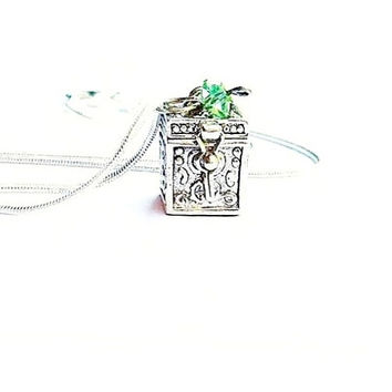 Antique Silver Locket  Box Pendant Necklace - Sterling Silver Snake Chain