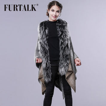 FURTALK Autumn Winter Sweater Cardigan Women Knit Pashmina Wool Fur Shawl Large Fur Scarf Poncho