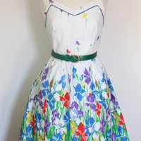 Vintage 70s Halter Dress / Vintage Sun Dress / TWIRL ME / Rockabilly Swing Summer Dress / 70s Fashion