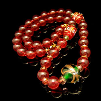 Chunky Red Cane Glass Wedding Cake Beads Crystals Vintage Necklace Green