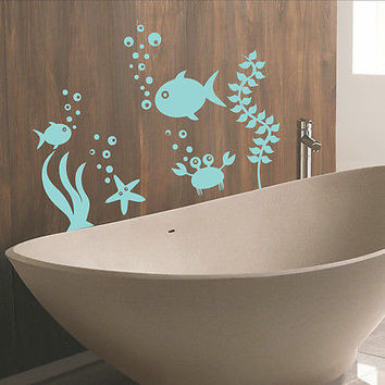 Wall Decals Fish Nautical Decal Bathroom Home Nursery Room Decor Sticker MR436