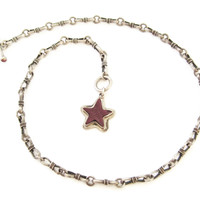 Custom Purple Spiny Oyster Star Sterling Toggle Necklace