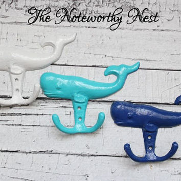 Cast Iron Whale hooks // iron whale hook // bathroom decor // nautical decor // boys room // cast iron hook // beach decor // pool decor