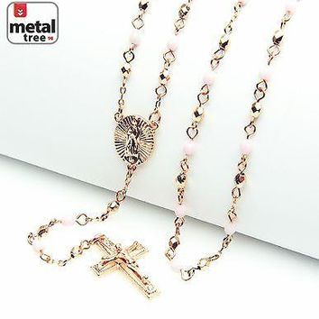 "Jewelry Kay style Fashion Rose Gold Pink 4mm Bead Guadalupe & Jesus Cross 25"" Rosary HR 700 RGLP"