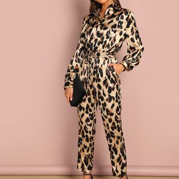 Self Belted Leopard Shirt Jumpsuit