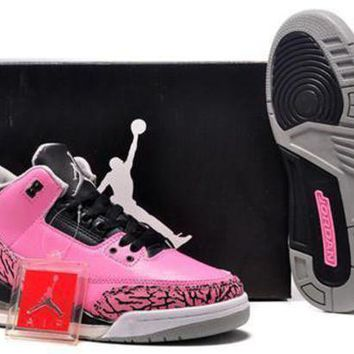 Hot Air Jordan 3 Retro Pink Grey Black Women Shoes