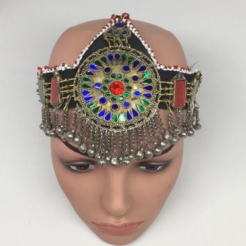 Kuchi Headdress Headpiece Afghan Ethnic Tribal Jingle Alpaca Silver Glass,CK626