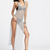Silver Sleeveless High Side Slit Sheer Cover Up