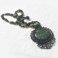Glass Bead, Embroidery, Ruby Zoisite, Pendant Necklace, Crystal, Green