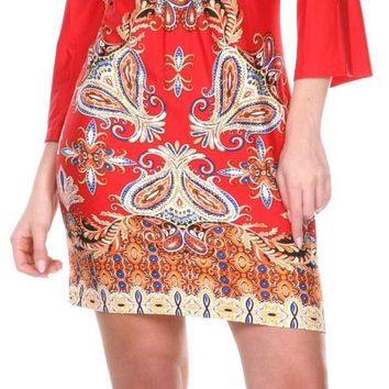 Madelyn Print Dress in Red Gold Short Shift V Neck 3/4 Sleeves