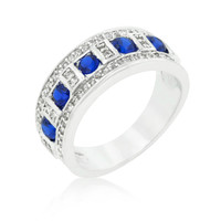 Gina Sapphire Blue and Clear Encrusted Band Ring | 3ct | Cubic Zirconia | Silver