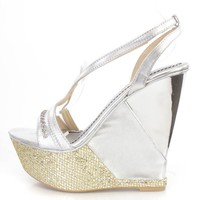Silver Sequin Rhinestone Embellished Wedges Faux Leather