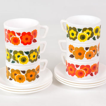 70s Glass Milk Floral Cups Saucers / Colorful Arcopal French Set of Six Coffee Tea Cups / Retro Funky Flower Power Kitchen Homeware Serving