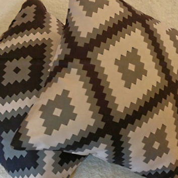 Aztec Pillow, Army Grey Black and Beige Aztec Pillow Cover, Varies Size Pillow Cover, Tribal Pillow Cover, Throw & Toss Pillow, Sofa Pillow