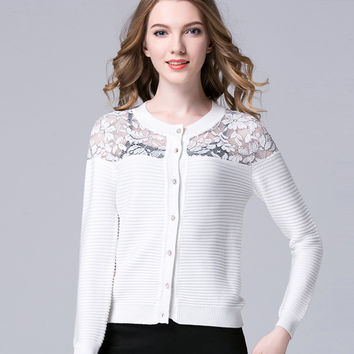 Sweater Cardigan with Lace