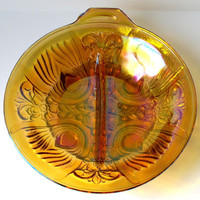 VINTAGE - Round Iridescent Amber Mint Nut Candy Bowl Dish - Collectibles