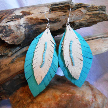 Turquoise and White Leather Earrings with Seed Beads, Handmade, Handcut, Handsewn, Boho, Hippie, Fairy, Elf, Pixie, Festival, Spring