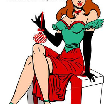 sexy santa pinup girl clipart png cartoon pin up girls presents digital download graphics tattoo art christmas holiday images printable art