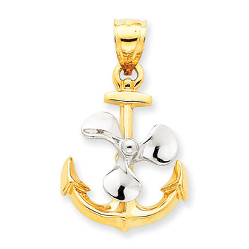 14k Two-tone 3-D Anchor w/Moveable Propeller Pendant K1891