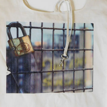 Eco Friendly Grocery Bag - The Lock on Bridge Fence / belt and hook | reusable bag, reusable grocery bag, ecobag, art bag, New York Photo