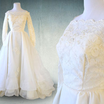 1950s Wedding Gown Lace Organza and Tulle Ruffled Victorian Style