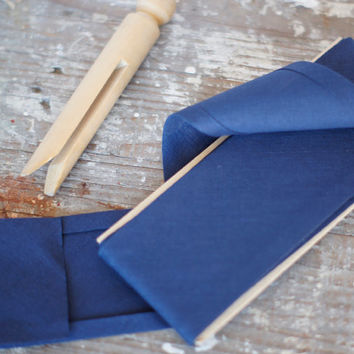 "Vintage Bias Binding Double Fold Seam Tape Navy 1/4"" PER METRE"