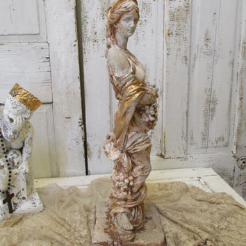 "Italian Maiden Statue 26"" tall cement hand painted and distressed in beautiful earthy and gold colors anita sperot"