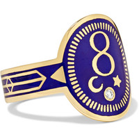 Foundrae - Karma 18-karat gold, diamond and enamel ring