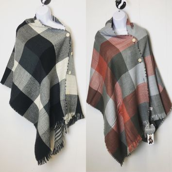 Plaid Cover Up Vest, Scarf, and Poncho