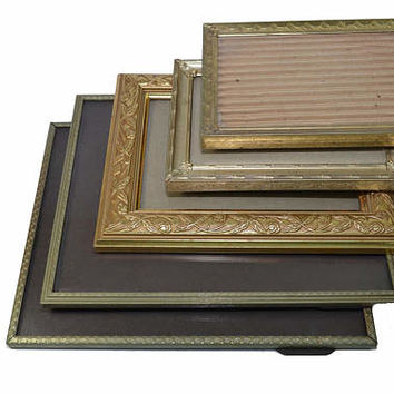 Vintage Brass Picture Frames Gold Picture Frames Stand up Picture Frames Wedding Décor Wedding Frames Set of 5