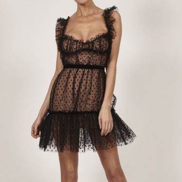 French Kiss Me Black Mini Dress