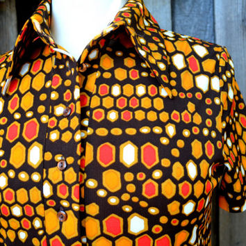 Vintage Alex Coleman Polo Blouse, Wild Fall Color Abstract Dots, Chocolate Brown, Gold and Red, Short Sleeves, 1970s