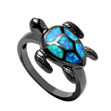 UFOORO New Black Gold Bague Unique Turtle Blue Fire Opal Animal Rings For Women Party Band Fashion Jewelry Drop Shipping
