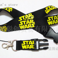 FREE SHIPPING Black/Yellow Starwars Key Lanyard ID Holder STAR WARS Mobile Neck Straps