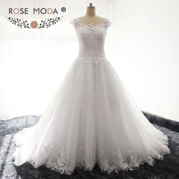 Rose Moda Sheer Bateau Neck Short Cap Sleeves Princess Lace A Line Wedding Dress Illusion Back Plus Size Wedding Dresses
