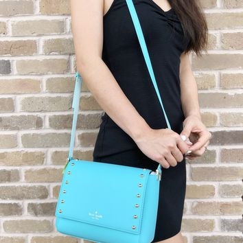 Kate Spade Sanders Place Avva Crossbody Atollblue Turquoise Studded