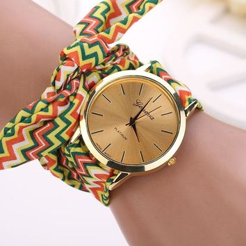 Aztec Tribal Floral Cloth Quartz Dial Wristwatch