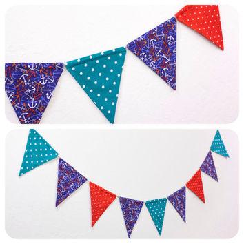 Nautical Flag Banner Fabric Bunting Pennant Room Decor Double-sided Birthday Party Photo Prop Baby Room // Navy Anchor Red & Teal Polka Dots