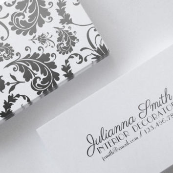 Flourish Black White Parisienne Elegant Double Sided Business Calling Card Template DIY PDF JPEG Handwritten Calligraphy Font