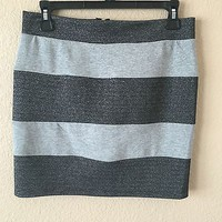 Dark Metallic Gray And Grey Striped Skirt With Gold Zipper By One Clothing SizeM