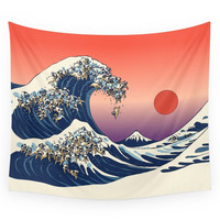 Society6 The Great Wave Of Pug Wall Tapestry