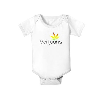 Marijuana Text and Leaf - Rastafarian Baby Romper Bodysuit