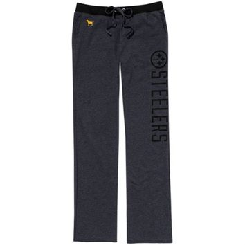 Victoria's Secret PINK Pittsburgh Steelers Ladies Boyfriend Pants - Charcoal
