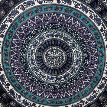 LARGE Mandala Tapestry, Indian Elephant Wall Hanging, Hippie Tapestries, Dorm Decor, Picnic Blanket, Tapestry Bedspread, Cotton Throw