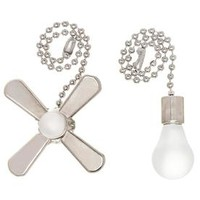 Shop Harbor Breeze 7-in Brushed Nickel and White Metal Pull Chain at Lowes.com