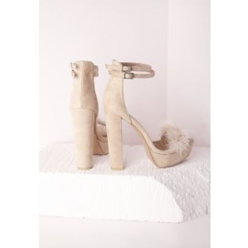 Fur Trim 70's Platform Sandals Cream - Shoes - High Heels - Missguided
